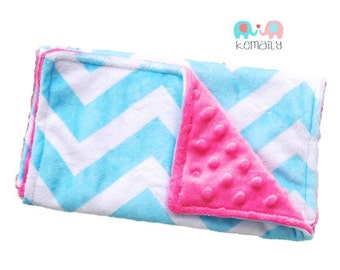 Turquoise & Hot Pink Chevron Minky Burp Cloth, Baby Shower, Baby Gift, Newborn Gift, Feeding, Nursing, Essentials, New Mom, Burp Cloths