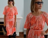 Vintage Dress, Jeunesse by Hannemar, 1960s Dress, Casual Dress, Day Dress, Summer Dress, Orange & White Dress, Off Shoulder