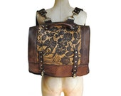 "Large  Leather Lightweight Convertible Backpack Messenger with Sparrow Print "" The Felicity 2.0"""