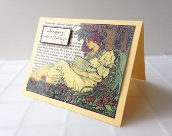 Handmade Birthday Card perfect for a Jane Austen reader - Art Nouveau reading woman in gold, rust, and olive green
