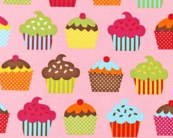 Colorful baked with Love Cupcakes by Robert Kaufman Fabric 1 Yard Fabric