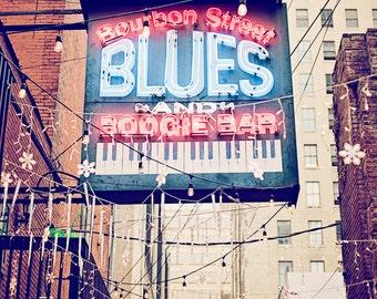 Nashville Tennessee art, city art print, bar artwork, Bourbon Street Blues, neon sign art, bar decor, wall art photo, Nashville decor