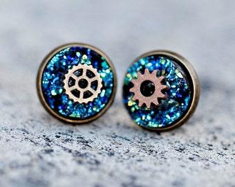 Steampunk Earrings - Steam Punk Earring Druzy Studs - Steampunk Wedding - Large Round Glitter Earrings - Steampunk Gift