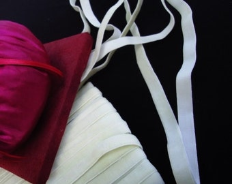 """3 or 10 yards of 3/8"""" wide width ivory or cream Velvet elastic / cream velvet stretch ribbon ST"""