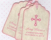 20 Baby Girl Tags, Christening Baptism Favor Tags, Communion Favor Tags, Personalized Baby Girl Pink Cross Design Tags - Vintage Style