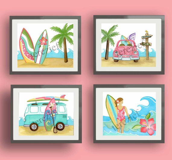 Surf art girl surfing art prints girl nursery art coral for Surf nursery ideas