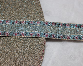 """2 yards Bue pink rose ombre metallic old gold woven jacquard sewing craft ribbon Trim 3/4"""" wide"""