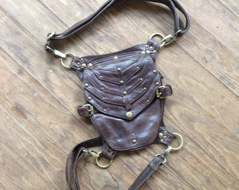 Vortex Brown leather backpack and leg holster purse and hip bag