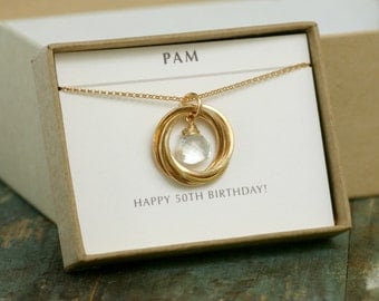 Gift For Sisters 50th Wedding Anniversary : Pearl necklace 50th birthday gift mothers necklace June