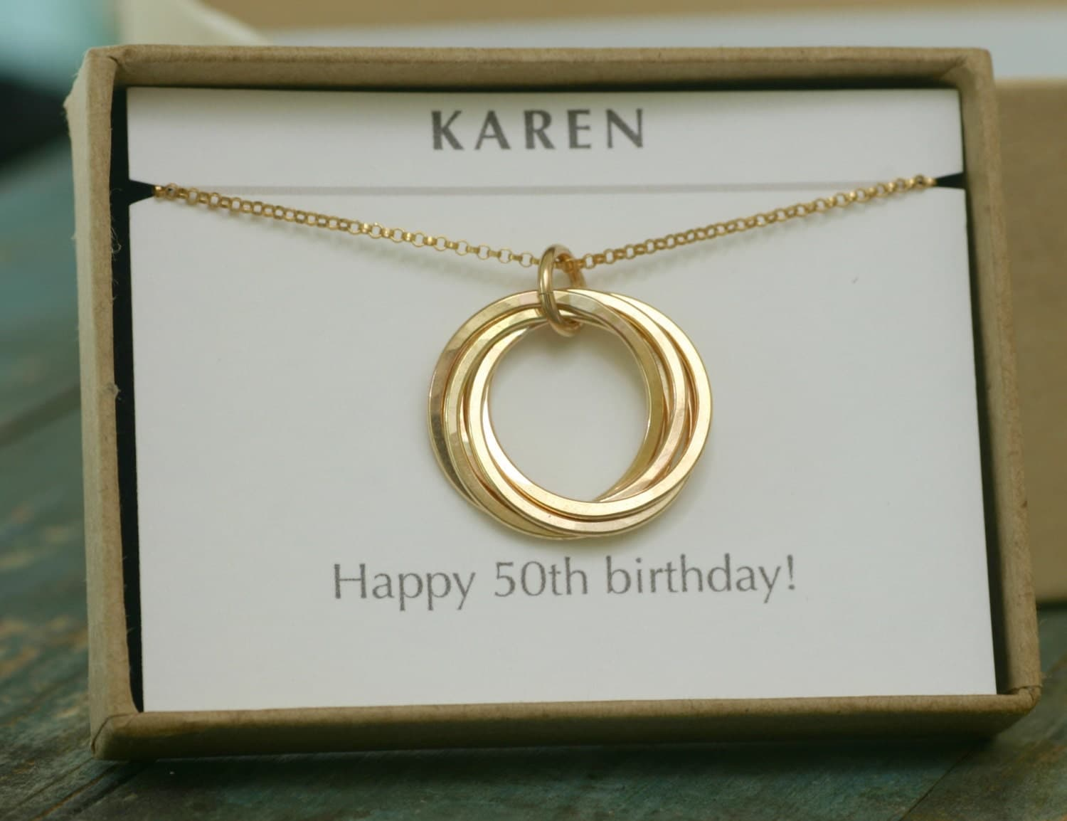 50th Birthday Gift Gold Mothers Necklace 5 Interlocking