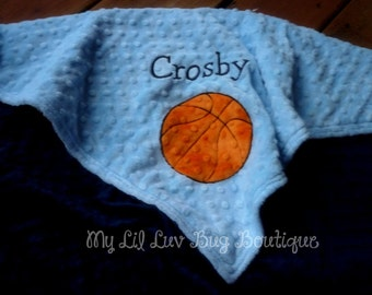 Personalized name baby blanket minky- basketball baby blanket- baby blue and navy blue- 30x35 stroller blanket