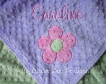 Personalized baby blanket minky- flower baby blanket with name- lavender, hot pink, and sage green flower- stroller blanket
