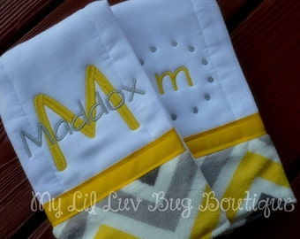Personalized Burp cloth set prefold diaper- lemon yellow with grey and white chevron print- set of two