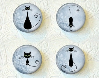 "Kitty Cat Silhouettes, Choose your Favorite Print of the Green Or Blue Backgrounds, 1.5"", Set of 4,Buy 3 Sets Get 1 Set Free  485M"