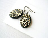 Black and Gold Earrings - Boho Jewelry Dangle, Mid Century Modern, Statement, Retro, 1950s, Antiqued Brass, Vintage Acrylic
