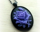 Gothic Purple Rose Necklace Lavender Jewelry Girlfriend Gift Anniversary Valentines Gift Valentine's Day Roses Botanical Nature Lover