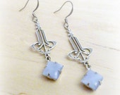 Blue Moonstone Art Deco Earrings with Silver Findings Gifts for Teen Girls Moonstone Jewelry