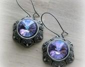 Lavender Victorian Earrings Vintage Style Swarovski Earrings Antique Silver Lavender Jewelry Light Purple Lavendar Victorian Earrings