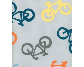 Cycles of Life from Maywood Studios - Full or Half Yard Chunky Bikes Gray Bicycle Fabric Yellow Blue Gray Orange
