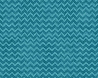 Wise One Flannel from Henry Glass - Full or Half Yard Teal and Light Blue Chevron
