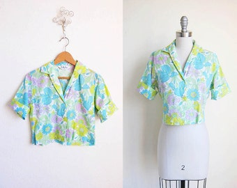 VIntage 50s Shirt | Crop Top | 1950s Floral Blouse