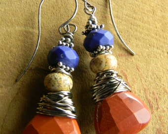 Tribal Jewelry Earrings Red Jasper Silver Lapis Lazuli Beaded