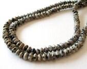 "Dalmatian Jasper Beads - Jasper Rondelle Saucer Beads - Tan Black - Freckled Jasper - Gemstone - 6mm - 15"" Strand - Jewelry Making"
