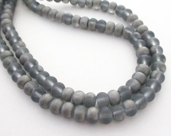 "Rondelle Unpolished Beads - Silver Gray Matte Glass Beads - Metallic Look Silver Beads - 16"" strand - 6mm x4mm - DIY Jewelry Projects"