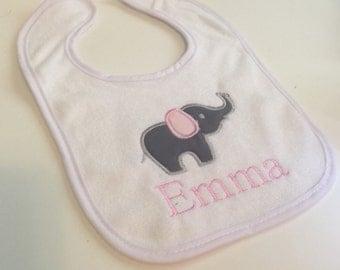Elephant personalized monogrammed bib
