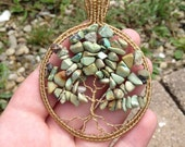 Tree of Life - Pendant - Wire Wrapped - Brass Wire - Tumbled Stone Chips Beads - Jewelry - Green - Brass