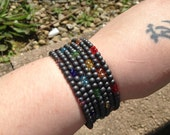 Hematite and Chinarovski Bracelet - memory wire - rainbow - chakra
