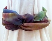 Hand dyed Silk Scarf,  Silk Chiffon Scarf, 54 x 10 inches, Ready to ship, Made in Australia by SallyAnnesSilks on Etsy  S72