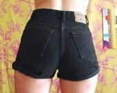 90s High Waist Denim Shorts Black 10/30 London Jean
