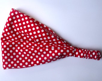 Red Polka Dotted Cotton Yoga Headband