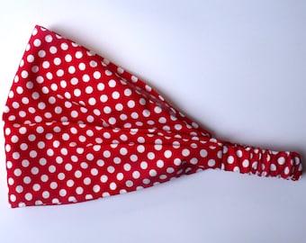 Red Polka Dotted Cotton Yoga Headband