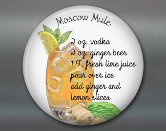 moscow mule cocktail recipe fridge magnet - moscow mule gift set - home bar accessories - kitchen gifts for chefs - MA-1646