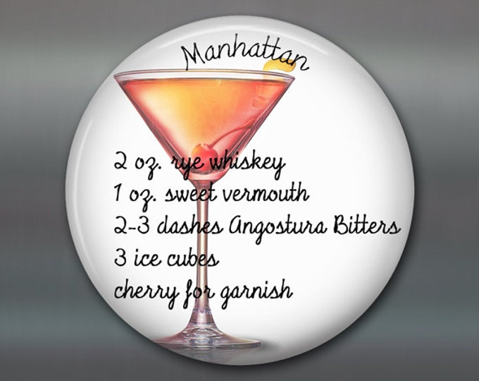 classic cocktail recipes magnet for kitchen- Manhattan cocktail recipe- hostess gift ideas for the kitchen- stocking stuffer for her MA-1650