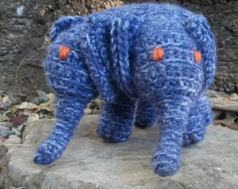 Blue Two Headed Elephant Stuffed Doll Plush Amigurumi Toy Rogue Taxidermy Conjoined Oddities
