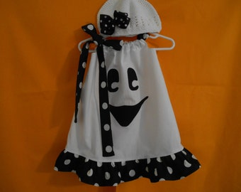 Ghost halloween costume or dress 0-3 months through 7/8 years includes hairbow and kufi hat