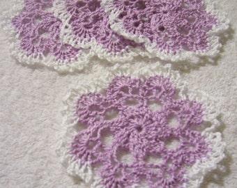 crocheted doily coasters purple handmade