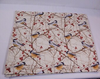 Chickadee Placemats, Birds Placemats, Handmade Placemats, Woodland Theme, Made in Maine Usa