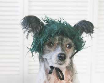 Dark Green Faux Fur Dog Costume Wig Hat Medium Size