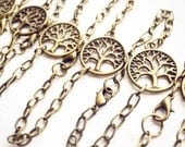 TEN Bracelets Tree Of Life / Wholesale / Handmade / Antique Brass Bronze / Boho Hippie Jewelry Layering Resale / Lot / Made in Michigan