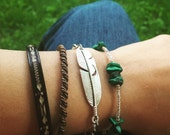 Feather Layering Bracelet / Hippie Antique Silver Adjustable Charm Bracelet / Bohemian Boho Gypsy Style