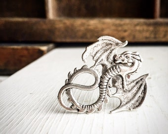 Dragon Ring / Renaissance Festival Costume Cosplay Pirate Steampunk / Antique Silver Wing / LARP Wing Wedding Bridesmaids Bridal Party Gifts