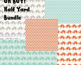 OH BOY! Half Yard Bundle- 5 fabrics of Oh Boy! by Riley Blake Fabrics.
