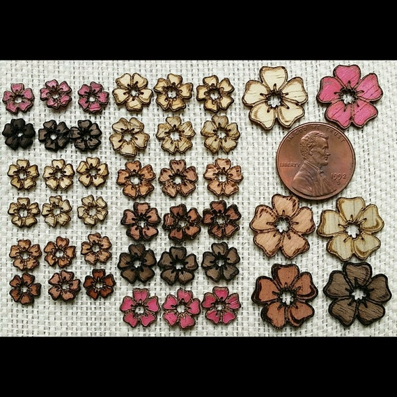 Mini & Micro Mini Exotic Wood Flowers For Needlework Embellishment