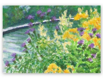 Meadow flowers 2, small painting, summer flowers, original, 5x7 inches