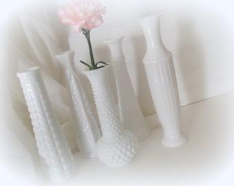 Wedding Vases Milk Glass Vase Lot of Five White Centerpieces Shabby Cottage Chic Wedding Vintage Cottage Decor