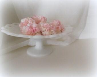 Milk Glass Cake Stand Vintage Milk Glass Pedestal Boho Wedding Decor Rustic Farmhouse Stand